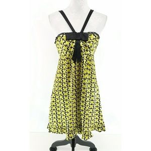 Betsey Johnson Yellow Butterfly Halter Dress